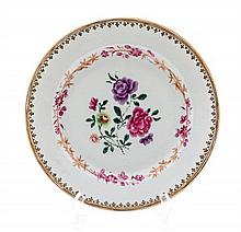A Chinese Export Porcelain Plate, Diameter 9 inches.