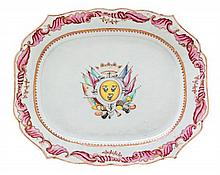 A Chinese Export Porcelain Platter Width 17 inches.