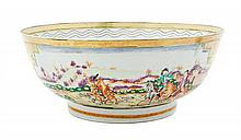 A Chinese Export Porcelain Punch Bowl Diameter 14 1/4 inches.