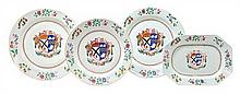 Four Chinese Export Porcelain Articles Diameter of largest 16 5/8 inches.