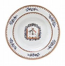 A Chinese Export Porcelain Soup Plate Diamter 9 inches.