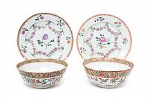 Four Chinese Export Porcelain Articles Diameter of plates 8 7/8 inches.