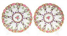 A Pair of Worcester Porcelain Shallow Dishes Diameter 8 3/8 inches.