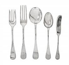 A Group of American Silver Flatware, Tiffany & Co., New York, NY, Circa 1890, King William-Antique pattern, comprising 1 lunch fork 1 s