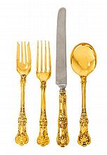 A Group of American Silver-Gilt Flatware, Tiffany & Co., New York, NY, 20th Century, English King pattern, comprising 1 lunch knife 1 l