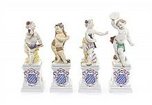 A Set of Four Nymphenburg Porcelain Figures, Height of first 7 7/8 inches.