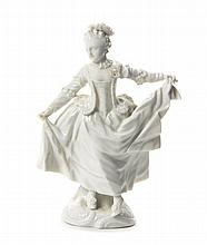 A Nymphenburg Blanc de Chine Figure, Height 6 inches.