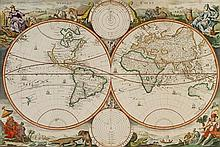 * STOOPENDAAL, DANIEL. Werelt Caert. [Amsterdam, c. 1680] Double-page engraved double-hemisphere world map. Framed and matted.