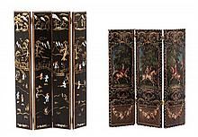 * An English Style Painted Leather Three-Panel Screen, Height of first 5 1/8 x width 4 1/2 inches.
