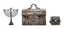 * A German Silver Chest and Menorah, Length of German chest 2 7/8 inches.