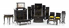 * A Collection of Chinese Style Black Painted Furniture Articles, Height of screen 5 5/8 x width overall 7 3/8 inches.