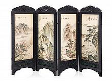 * A Chinese Style Four-Panel Floor Screen, Height 6 x width of each panel 2 1/4 inches.