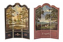 * Two Victorian Style Three-Panel Painted Floor Screens, NATASHA BESHENKOVSKY, 1994 AND 1998, Height of first 5 7/8 x width 4 1/2 inche