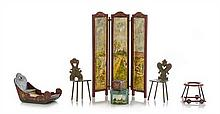* Five Dutch Painted Furniture Articles, Height of screen 6 x width of each panel 1 1/4 inches.