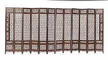* A Chinese Twelve-Panel Screen, Height 15 x width of each panel 2 3/4 inches.