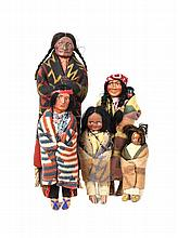 Five Souvenir Skookum Dolls, Height of tallest: 16 3/4 inches.