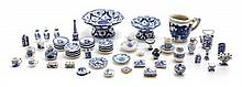 * A Collection of Blue and White Porcelain Articles, Diameter of largest 1 1/8 inches.