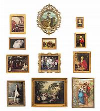 * Twelve Framed Printed Works of Art, Largest: 3 1/4 x 4 1/4 inches.