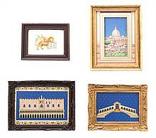 * Four Framed Decorative Articles, Largest: 1 5/8 x 2 3/8 inches.