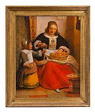 * Paul Saltarelli, (Italian, 20th century), Woman and Child Peeling Apples, after Pieter de Hooch