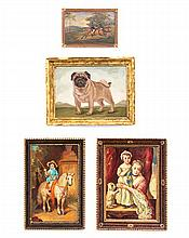 * Four Framed Oil Paintings on Board, Height of first 3 1/4 x 2 3/4 inches.
