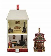 * A Decorated Doll House, Height of first 4 1/8 inches.