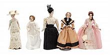 * Five Porcelain Head Dolls, Height of first 6 1/4 inches.