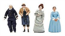 * Seven Porcelain Head Dolls, Height of tallest 6 1/2 inches.