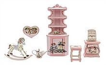 * A Collection of Painted Child's Furniture and Decorative Articles, Height of first 6 3/4 x width 3 x depth 1 3/4 inches.