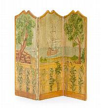 * A Painted Wood Three-Panel Floor Screen, Height 5 1/8 x width of each panel 1 3/4 inches.