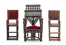 * Three Metal Armchairs, Height of tallest 4 1/8 inches.