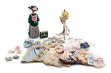 * A Collection of Doll Clothes and Accessories, Hight of tallest 5 3/4 inches.