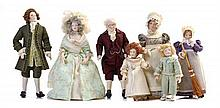 * Seven Porcelain Head Dolls, Height of first 6 inches.