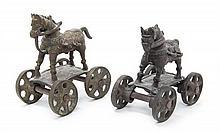 Pair of Antique Iron Horses on Wheels. Height 6 x width 5 inches.