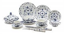 A Royal Copenhagen Porcelain Partial Dinner Service, Diameter of dinner plate 10 inches.