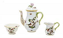 A Herend Porcelain Tea Set, Height of pot 6 inches.