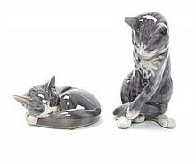 Two Royal Copenhagen Cat Figures, Height of largest 7 inches.