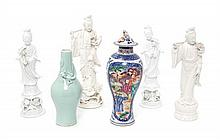 A Collection of Chinese Export Porcelain Articles, Height of tallest 14 inches.