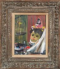 Jean Calogero, (Italian, 1922-2001), Doll with White Veil and Bird in Cage