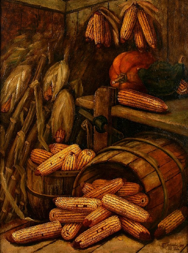 Alfred Montgomery, (American, 1857-1922), Still Life with Corn and Pumpkins