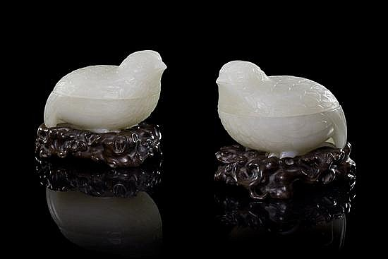 * A Pair of White Jade Quail-Form Boxes, Length 3 7/8 inches.