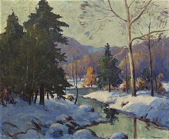 Harry Townsend, (American, 1885-1968), Winter Stream