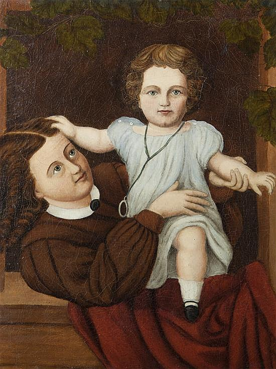 American School, (19th century), Mother and Child