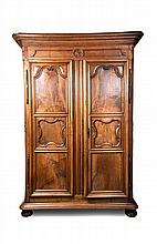 A French Provincial Walnut Armoire, Height 102 x width 66 x depth 27 inches.