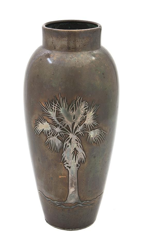 A Heintz Silver Bronze Vase, Height 11 1/4 inches.