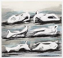 Henry Moore, (British, 1898-1986), Six Reclining Figures