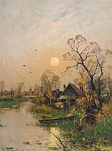 Heinz Flockenhaus, (German, 1856-1919), Sunset Cottage