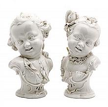 A Pair of Nymphenburg Blanc de Chine Busts, Height 10 7/8 inches.
