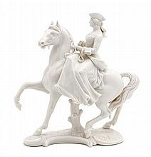 A Nymphenburg Blanc de Chine Figural Group, Height 8 3/4 inches.
