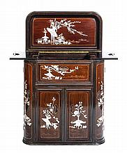 A Chinese Export Lacquered and Painted Bar Cabinet, Height 36 x width 33 x depth 17 1/2 inches.
